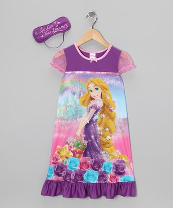 Purple Rapunzel Nightgown & Sleep Mask - Girls