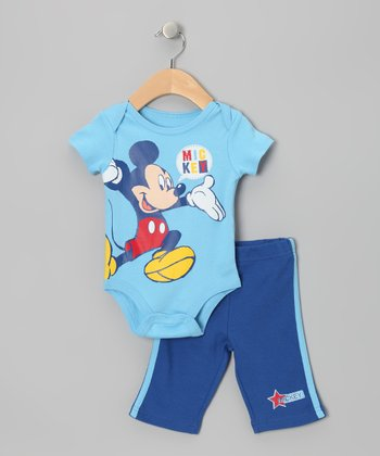 Light Blue & Navy Mickey Bodysuit & Pants - Infant
