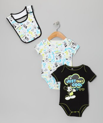 Black & Aqua Mickey Bodysuit Set - Infant
