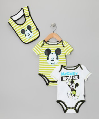 White & Green Stripe Mickey Bodysuit Set - Infant