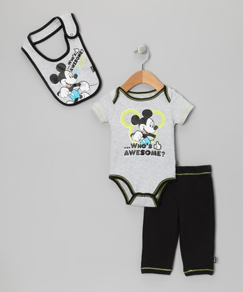 Gray 'Who's Awesome?' Mickey Pants Set - Infant