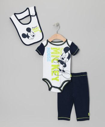 Navy & Lime 'Original' Mickey Pants Set - Infant