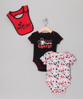 Black & Red 'Big Guy' Mickey Bodysuit Set - Infant