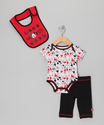 Red & Black Mickey Star Pants Set - Infant