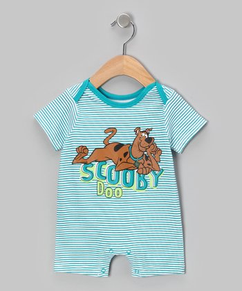 Teal Stripe Scooby-Doo Romper - Infant