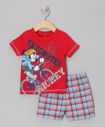 Red 'Trickster' Mickey Tee & Plaid Shorts - Infant & Toddler