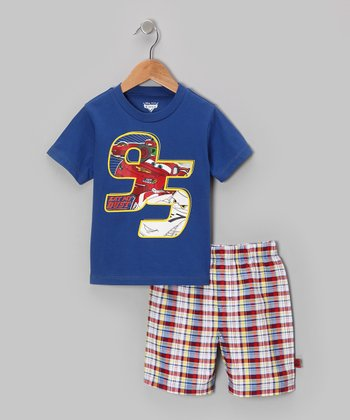 Blue Plaid '95' Cars Tee & Shorts - Toddler