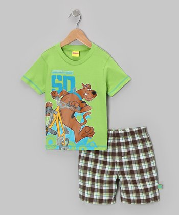 Green Scooby-Doo Tee & Plaid Shorts - Toddler