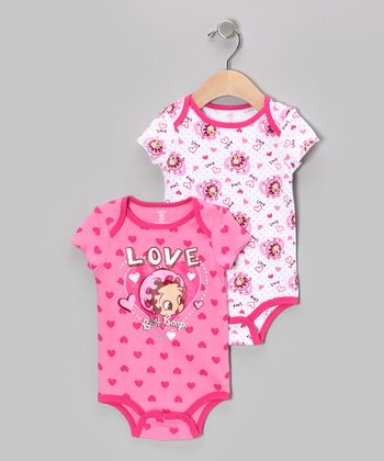 Pink & White Betty Boop Bodysuit Set - Infant
