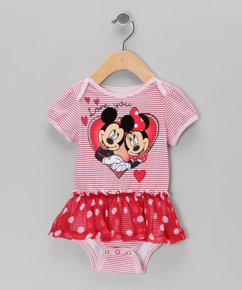 Red Stripe 'Love' Polka Dot Skirted Bodysuit - Infant
