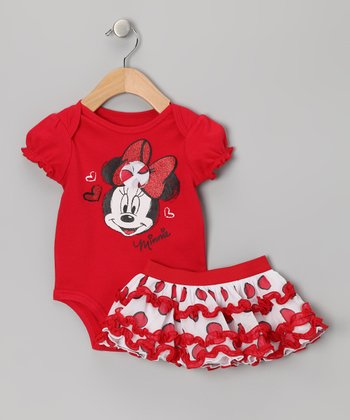 Red Minnie Bodysuit & Skirt - Infant