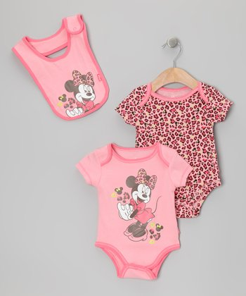 Pink Minnie Cheetah Bow Bodysuit Set - Infant