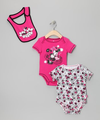 Hot Pink Flowers Minnie Bodysuit Set - Infant