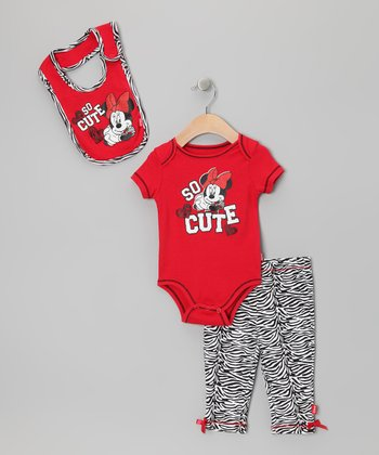 Red Zebra 'So Cute' Minnie Pants Set - Infant