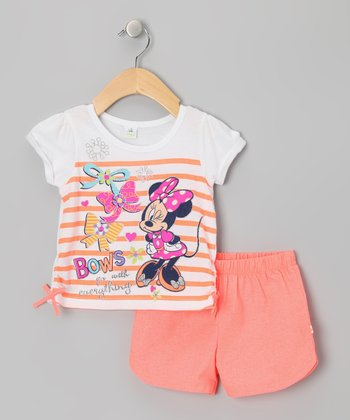 Coral Stripe 'Bows' Minnie Top & Shorts - Infant