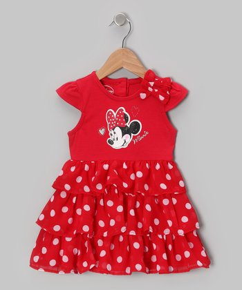 Red Polka Dot Minnie Tiered Dress - Toddler