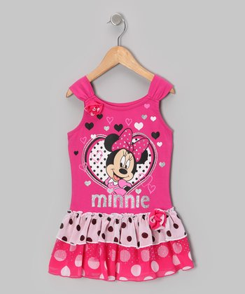 Pink Hearts Minnie Tier Dress - Toddler