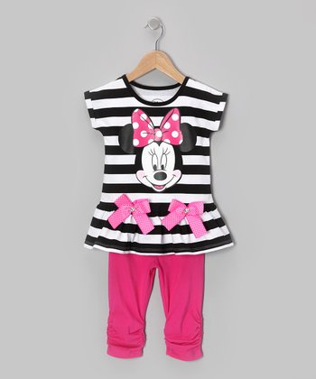 Black Stripe Minnie Tunic & Leggings - Toddler