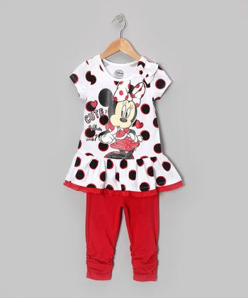 Black & Red Polka Dot Minnie Tunic & Leggings - Toddler