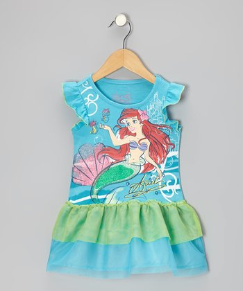 Blue & Green Ariel Ruffle Dress - Toddler