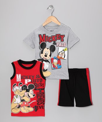Red & Black Mickey & Pluto Shorts Set - Toddler
