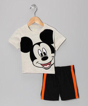 Beige & Black Mickey Face Tee & Shorts - Infant