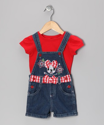 Red Minnie Tee & Denim Shortalls - Toddler
