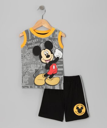 Gray Mickey Knit Tank & Shorts - Toddler