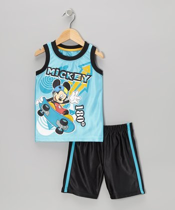 Blue & Black Mickey Tank & Shorts - Toddler & Boys