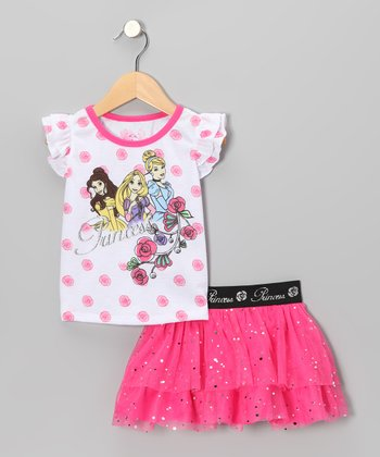 Pink Princess Polka Dot Angel-Sleeve Top & Skirt - Toddler