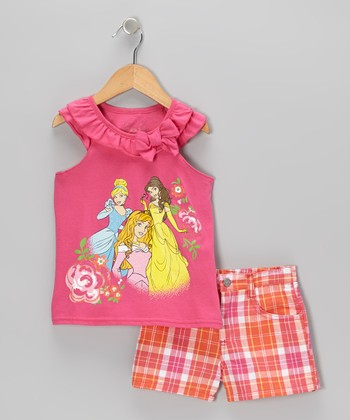 Pink & Orange Princess Tank & Shorts - Toddler & Girls