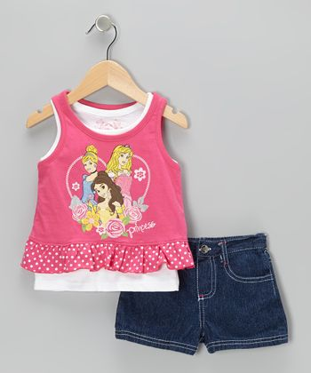 Pink & Denim Princess Ruffle Tank & Shorts - Toddler & Girls