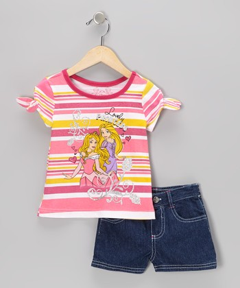 Pink Stripe Princess Tee & Denim Shorts - Toddler & Girls
