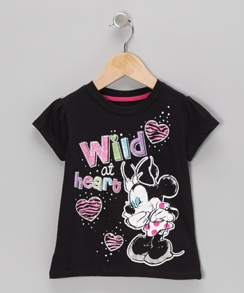 Black 'Wild' Minnie Mouse Tee - Toddler & Girls