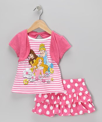 Pink Polka Dot Princess Bolero Top & Skirt - Toddler & Girls