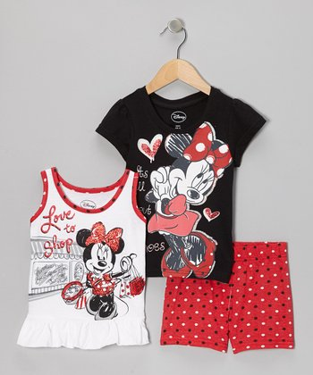 Red & Black Minnie Ruffle Tank Set - Girls