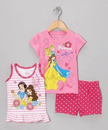Pink Princess Ruffle Tank Set - Girls