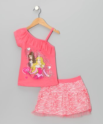 Hot Pink Princess Asymmetrical Top & Skirt - Toddler & Girls