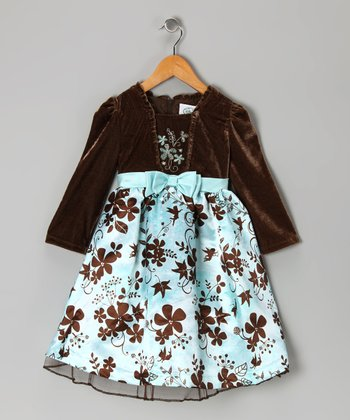 Aqua & Brown Satin Floral Dress - Girls