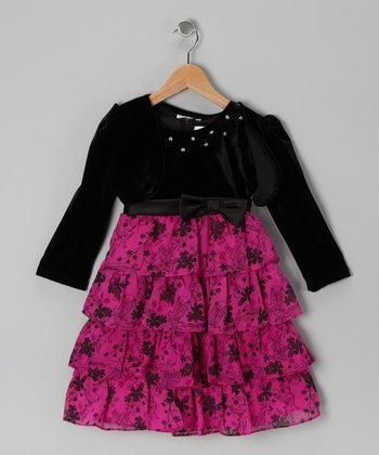 Pink & Black Floral Knit Tier Dress & Bolero - Girls