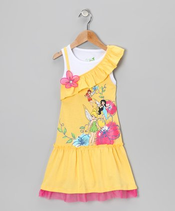 Yellow & Pink Tinker Bell Asymmetrical Drop-Waist Dress - Girls