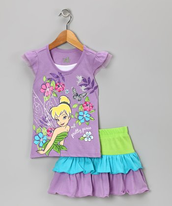 Purple & Lime Tinker Bell Tee & Skort - Infant