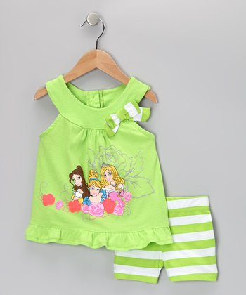 Green Stripe Princesses Yoke Top & Shorts - Toddler