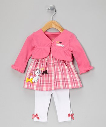 Pink & White Plaid Aristocats Dress Set