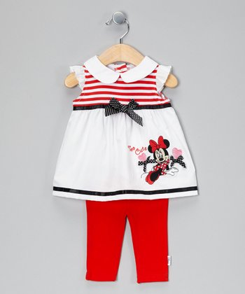 Red & White Minnie Mouse Dress & Leggings
