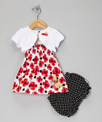 Red & White Winnie the Pooh Dress Set