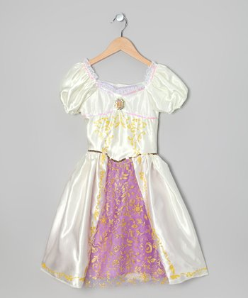 White & Pink Princess Rapunzel Wedding Dress