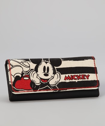 Black & White Stripe Mickey Wallet