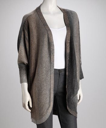Gray Dolman-Sleeve Open Cardigan