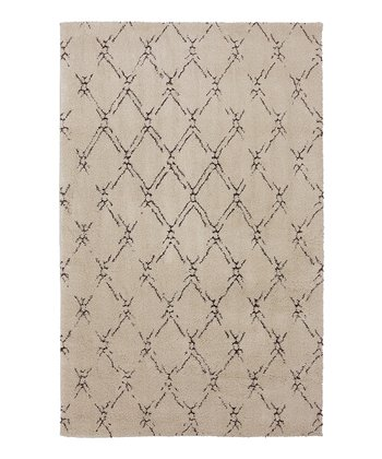 Beige Lattice Area Rug